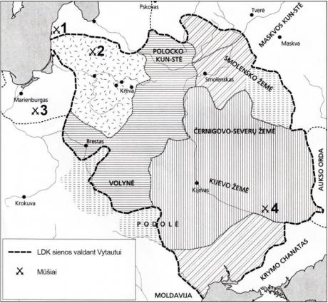 2020 VBE 4 testinio klausimo LDK žemėlapis